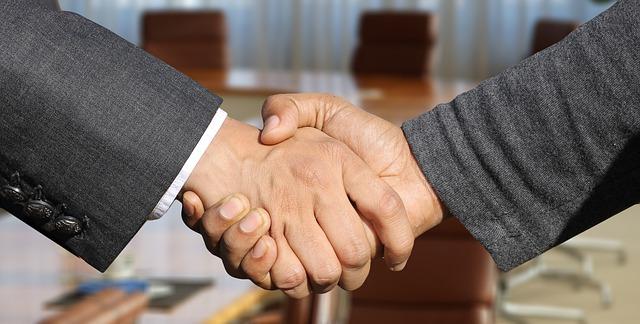 2 Männer machen einen gemeinsamen Handschlag